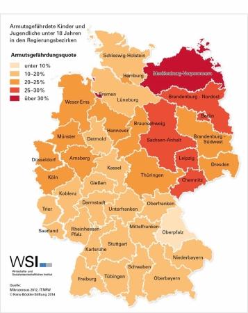 WSI-Report, Kinderarmut nach Regionen